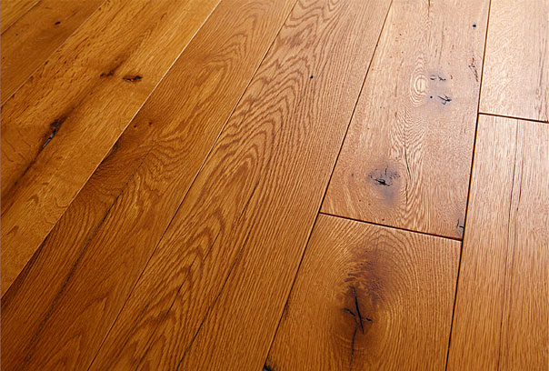 An example of Reclaimed Beam Sawn Oak Flooring finished with a Tung Oil Finish