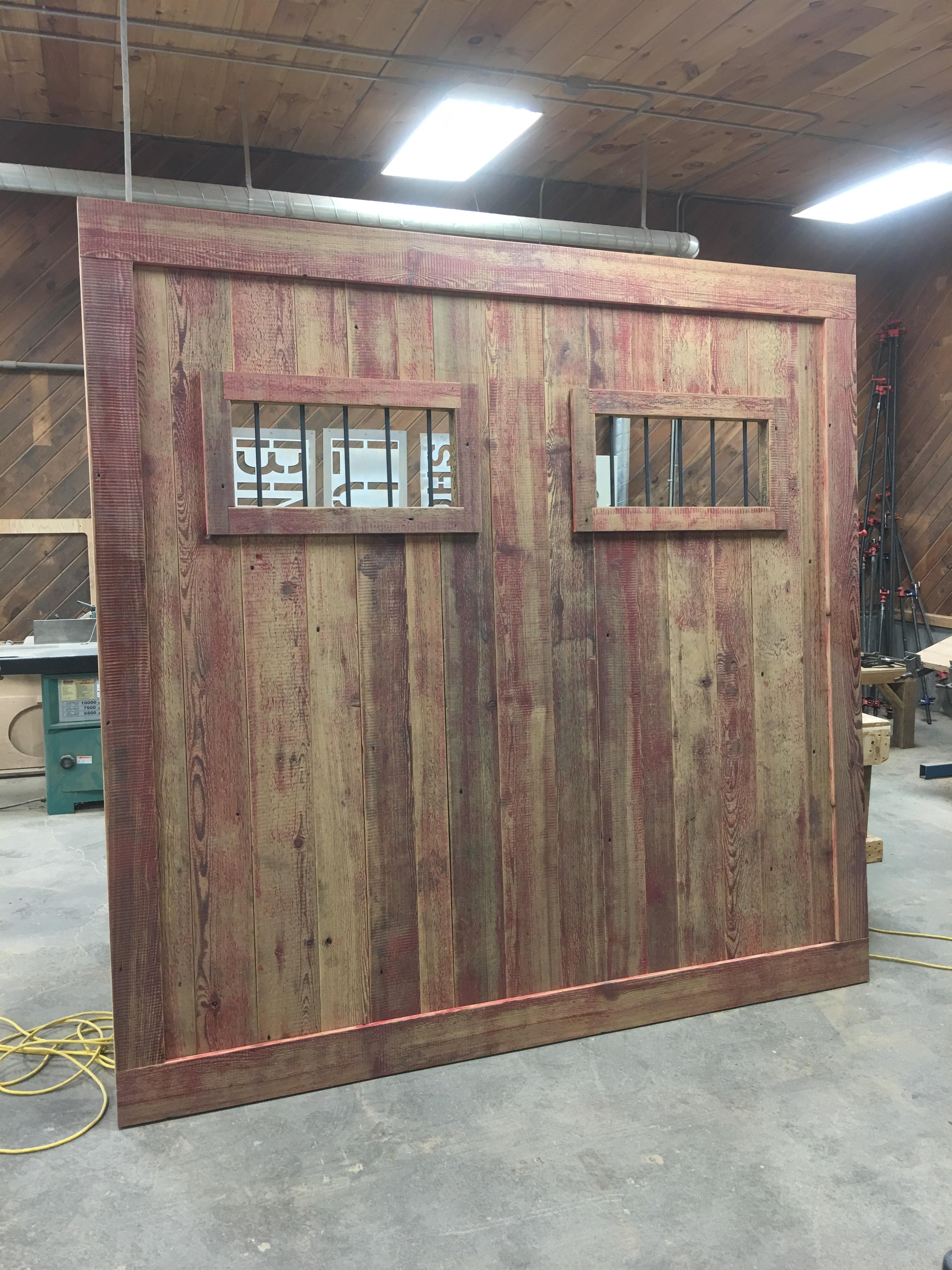 Custom over sized reclaimed sliding barn door bingham lumber for Custom barn doors