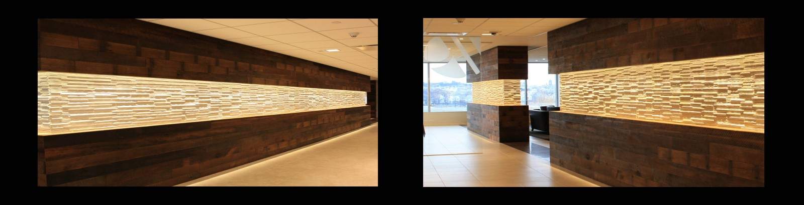 Reclaimed Kendall Road Mixed Oak Used as a wall paneling in a corporate setting