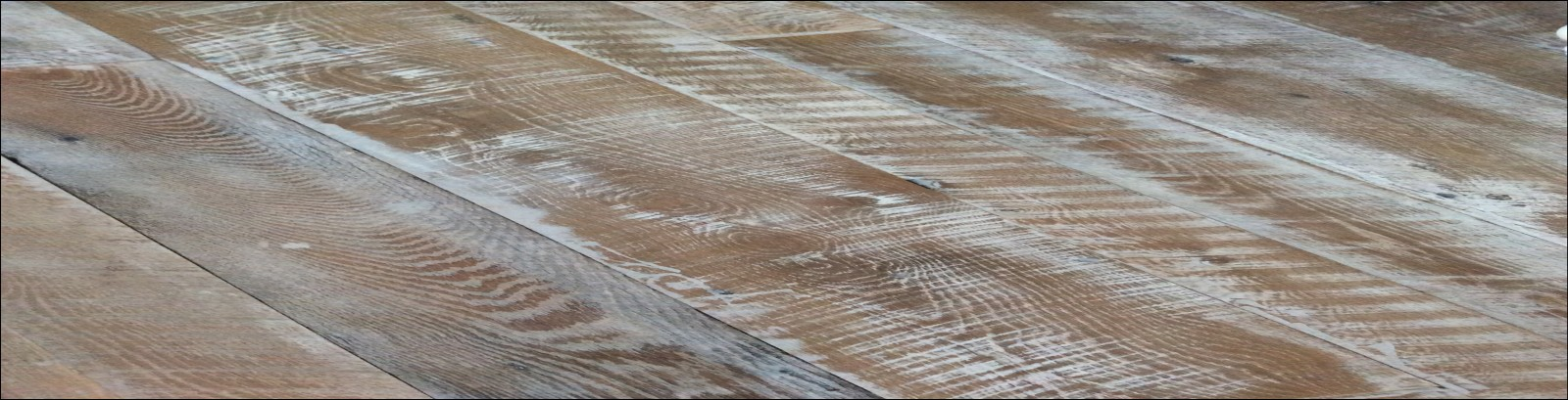 Reclaimed Hampton Falls Flooring - Reclaimed Mixed Oak Flooring with natural texture and face and an custom sanded white wash finish